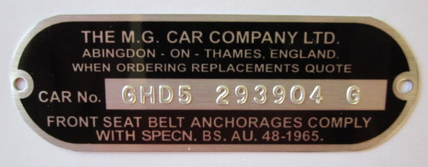 MG MGB GT chassis plate